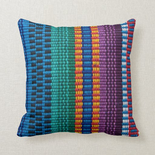 Traditional guatemala fabric weave throw pillow zazzle - Fabric for throw pillows ...