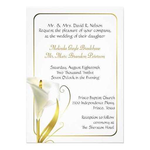 Personalized Calla Lily Wedding Invitations