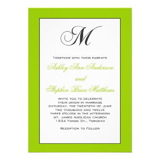Traditional Wedding Invitation Monogram M Green