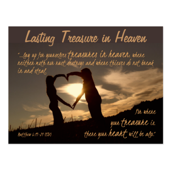 Treasures in Heaven Matthew 6:19-21 Bible Verse Postcards