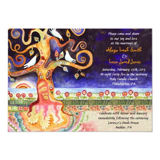 Tree Of Life Invitation Rsvp Celtic Life By: Tree Of Life Doves Jewish Wedding Invitation
