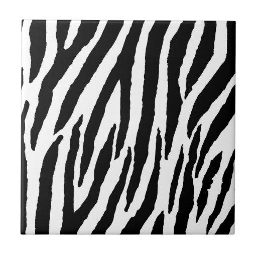 Aninimal Book: Trendy Black And White Zebra Pattern Ceramic Tile | Zazzle