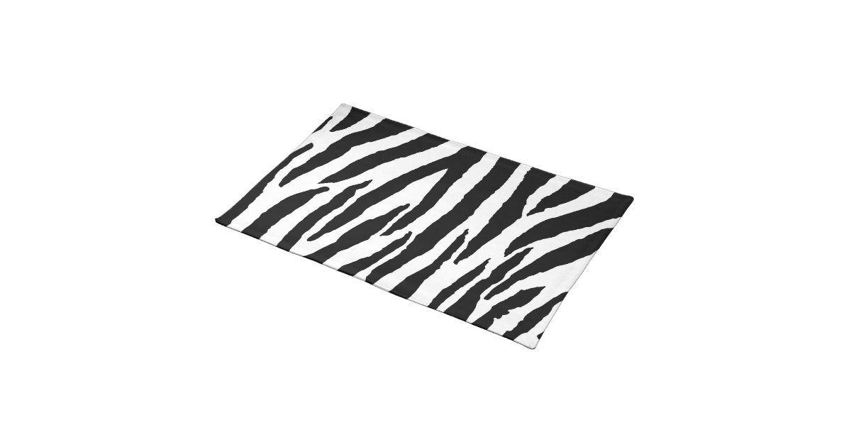 Aninimal Book: Trendy Black And White Zebra Pattern Cloth Placemat | Zazzle