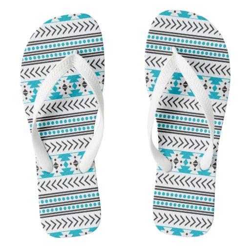 Trendy Blue Aztec Tribal Print Geometric Pattern Flip ...