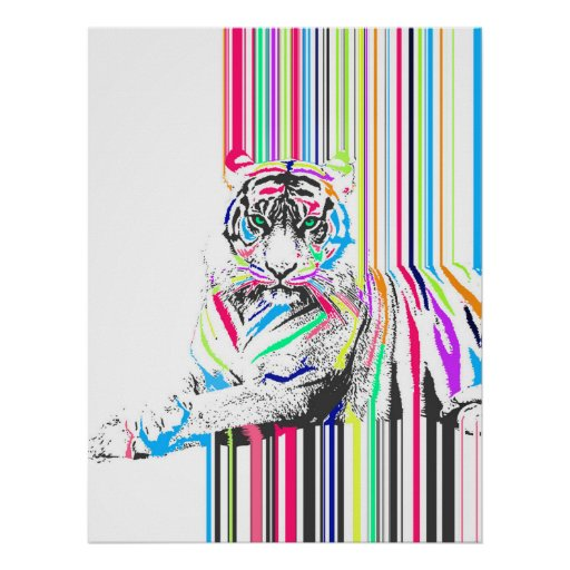 Trendy Poster Designs: Trendy Colourful Vibrant Neon Stripes Tiger Pain Poster