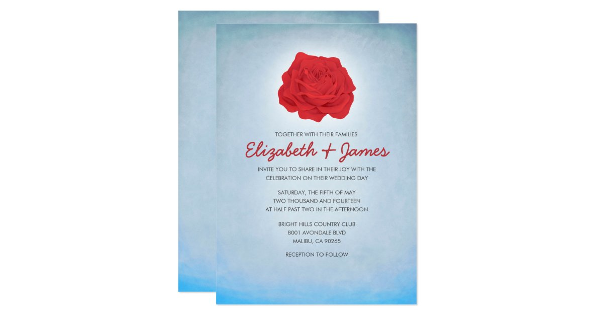 Red White And Blue Wedding Invitations: Trendy Floral Blue And Red Wedding Invitations