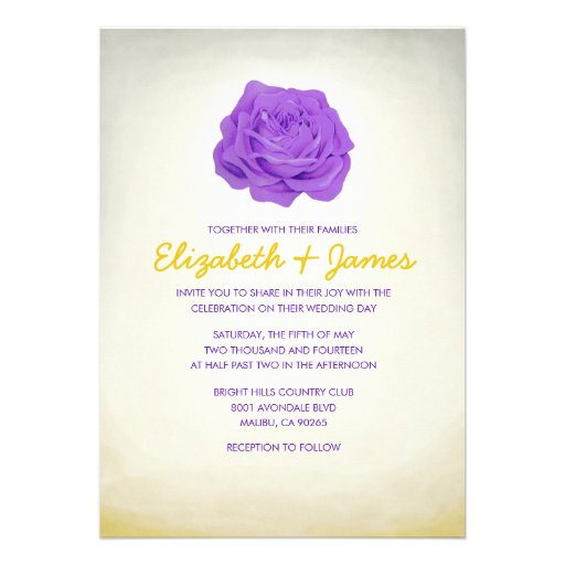 "Gold And Purple Wedding Invitations: Trendy Floral Purple And Gold Wedding Invitations 5"" X 7"