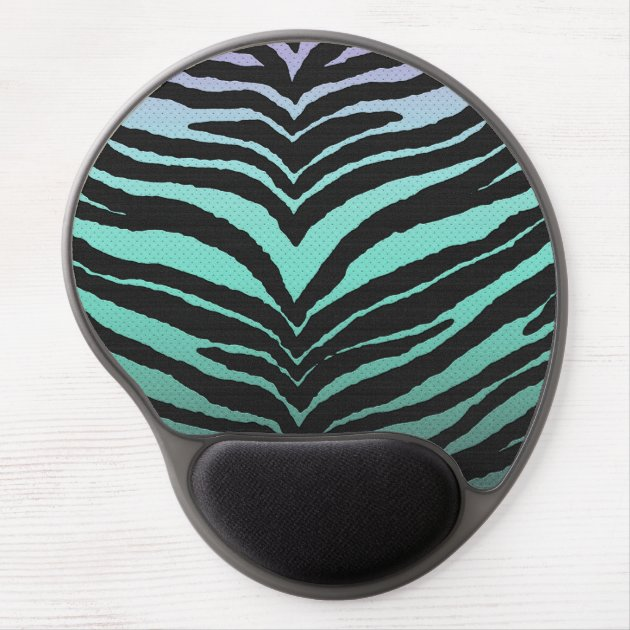 Trendy Girly Zebra Print Faded Teal To White Gel Mouse Pad