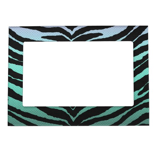 Trendy Girly Zebra Print Faded Teal To White Magnetic
