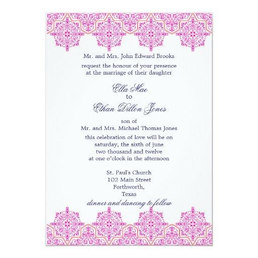 Pink Orange Wedding Invitations: Trendy Pink And Orange Damask Wedding Invitations