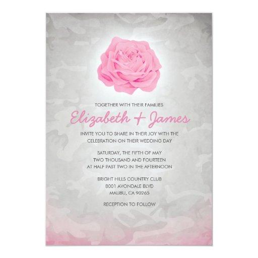 Camo Wedding Invitations To Make: Trendy Pink Camo Wedding Invitations