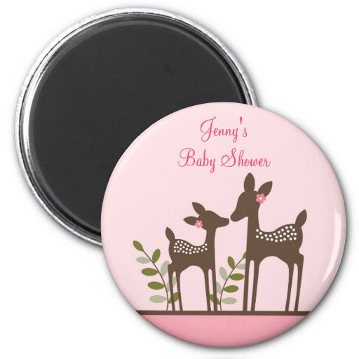 Trendy Baby Shower Themes: Trendy Pink Deer Forest Baby Shower Magnets Favors