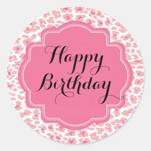Trendy Pink Leopard Print Happy Birthday Stickers