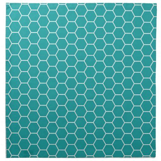 Trendy Teal Geometric Honeycomb Hexagon Pattern Napkin ...