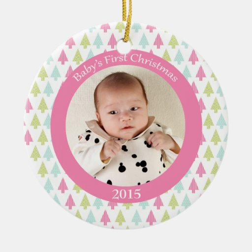 Trendy trees baby's first Christmas photo ornament   Zazzle