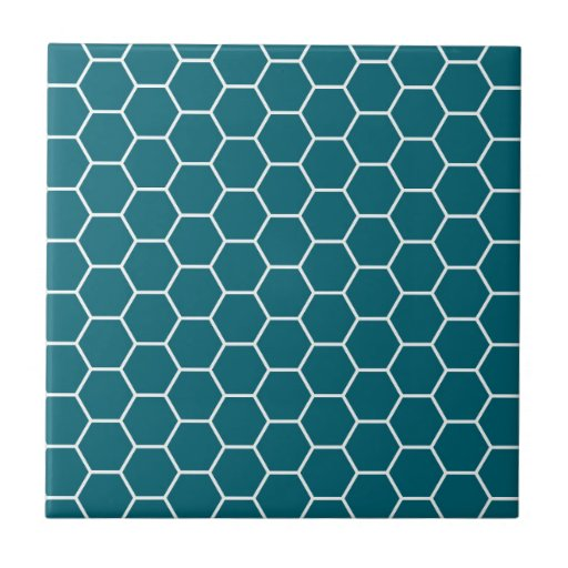 Trendy Turquoise Geometric Hexagon Pattern Ceramic Tile