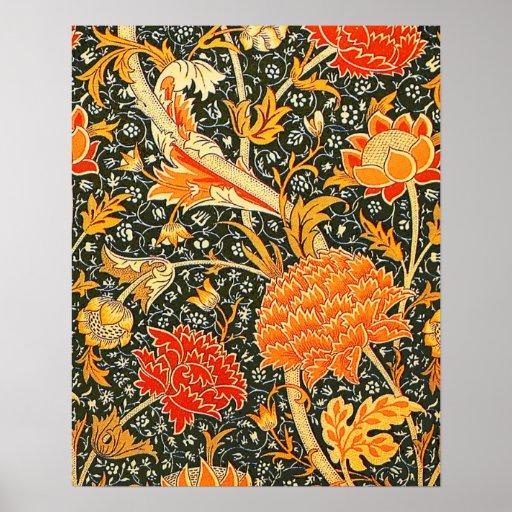 Trendy Poster Designs: Trendy Vintage Designer Floral Wallpaper Pattern Poster