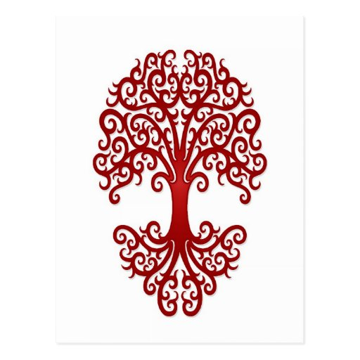 Tribal Tree Of Life: Tribal Tree Of Life Red On White Postcards