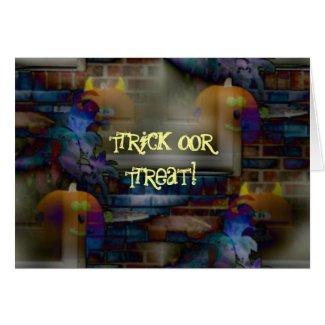 Trick or Treat Screamin Pumpkins In Dark card