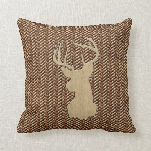 Trophy Deer With Antlers Throw Pillow