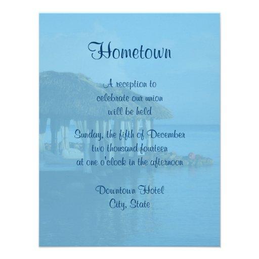 Reception After Destination Wedding Invitation: Tropical Beach Destination Wedding Local Reception Custom