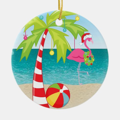 Tropical Beach Flamingo Palm Christmas Ornament   Zazzle