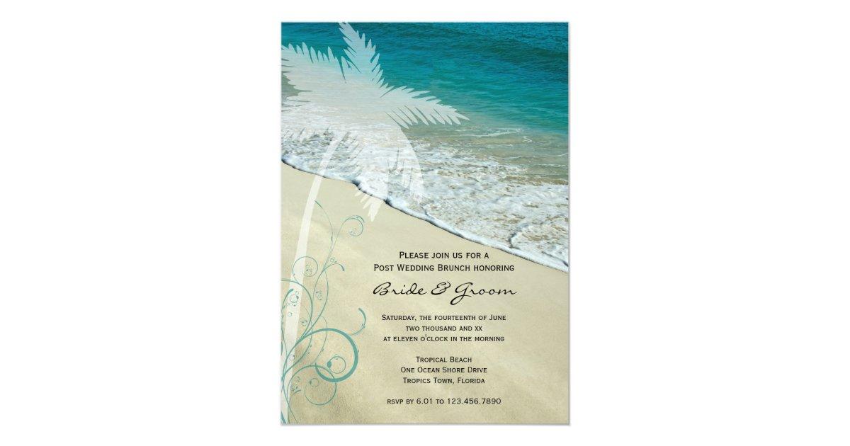 Post Wedding Brunch Invitation Wording: Tropical Beach Post Wedding Brunch Invitation