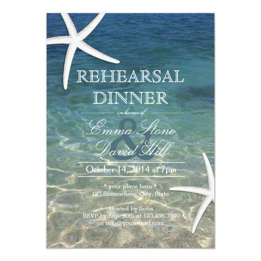 Pre Wedding Dinner Invitation: Tropical Beach Starfish Rehearsal Dinner 5x7 Paper