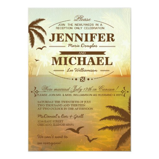 Wedding Reception Only Invitations: Tropical Beach Wedding Reception Only Invitations