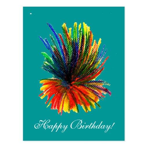 Tropical Flower Happy Birthday Card Postcard