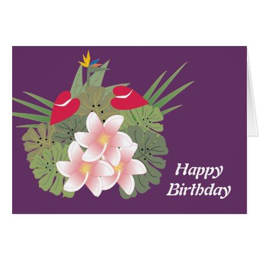 Tropical Flowers Happy Birthday Card
