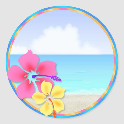 Tropical Hawiian Luau Cupcake Toppers Stickers Zazzle