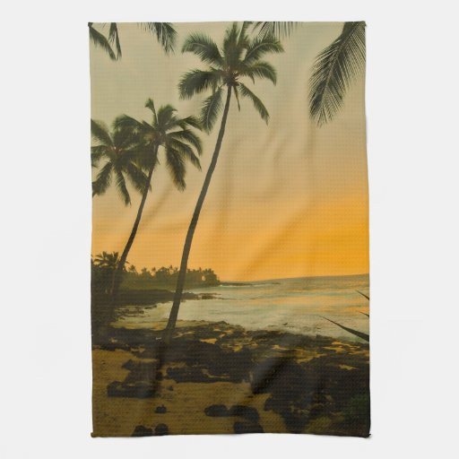 Island Beach Sunset: Tropical Island Beach Sunset Kitchen Towel
