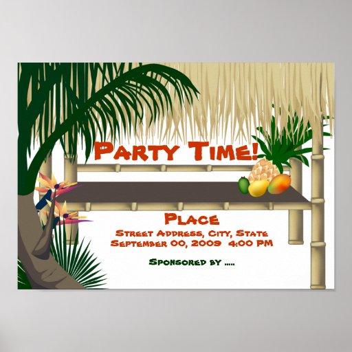 Inspiration Hut Grid Paper: Tropical Luau Party Tiki Bar Hut Invitation Poster
