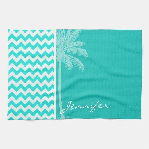 Black And White Chevron Hand Towels: Tropical Palm; Aqua Color Chevron Towels