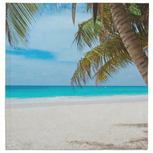 Paradise Beach: Tropical Paradise Beach Cloth Napkin