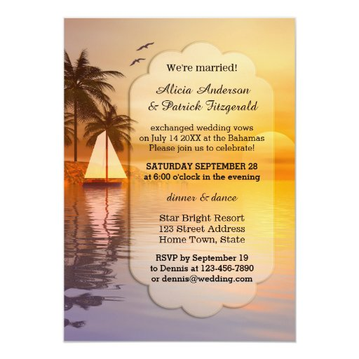 Wedding Reception Only Invitations: Tropical Post Wedding Reception Only Invitation