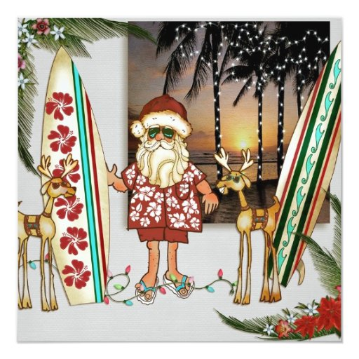 Office Christmas Party Ideas: Tropical Santa Christmas Party Invitation