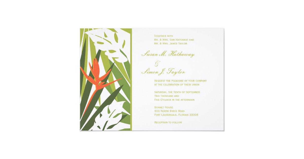 Orange And Green Wedding Invitations: Tropical Wedding Invitation - Green And Orange