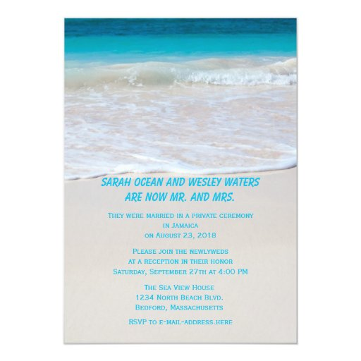 """Wedding Reception Only Invitations: Tropical Wedding Themed Reception Only Invitations 5"""" X 7"""