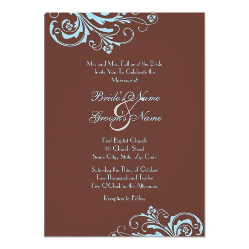 Wedding Invitations Turquoise: Turquoise And Brown Chic Wedding Invitation