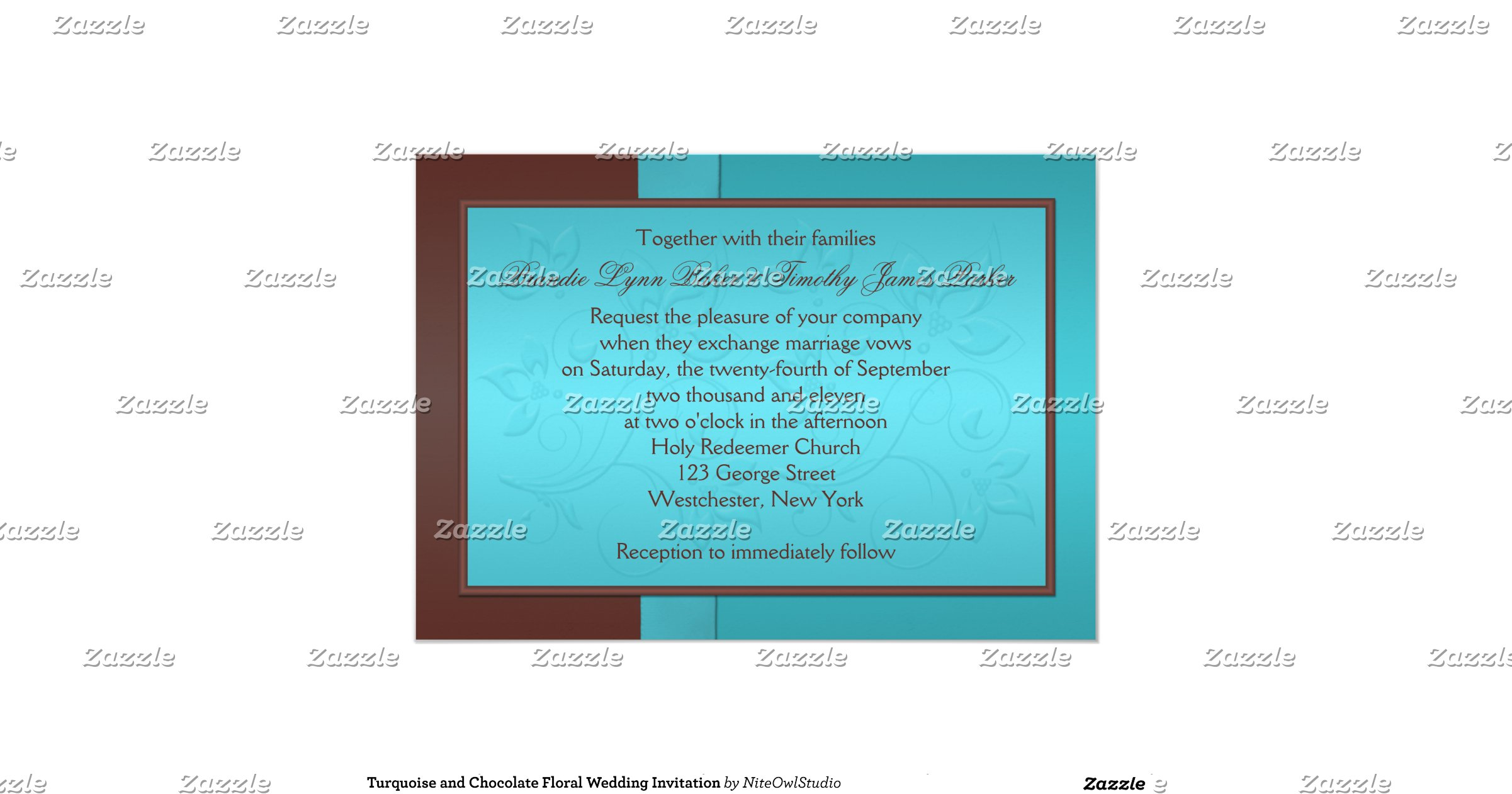 Turquoise And Brown Wedding Invitations: Turquoise_and_chocolate_floral_wedding_invitation
