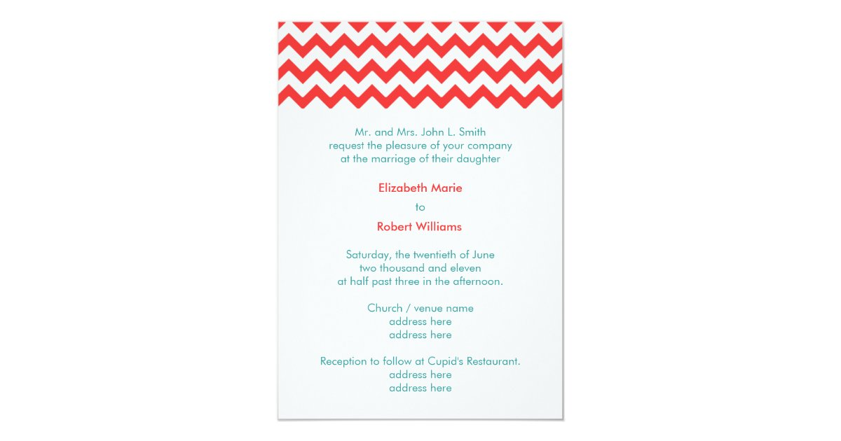 Turquoise And Coral Wedding Invitations: Turquoise And Coral Chevron Wedding Invitation