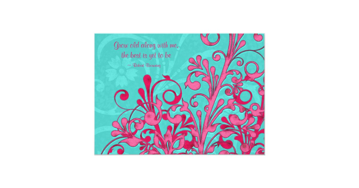 Turquoise And Pink Wedding Invitations: Turquoise And Pink Floral Wedding Invitation