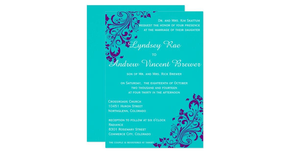 Wedding Invitations Turquoise: Turquoise And Purple Wedding Invitation