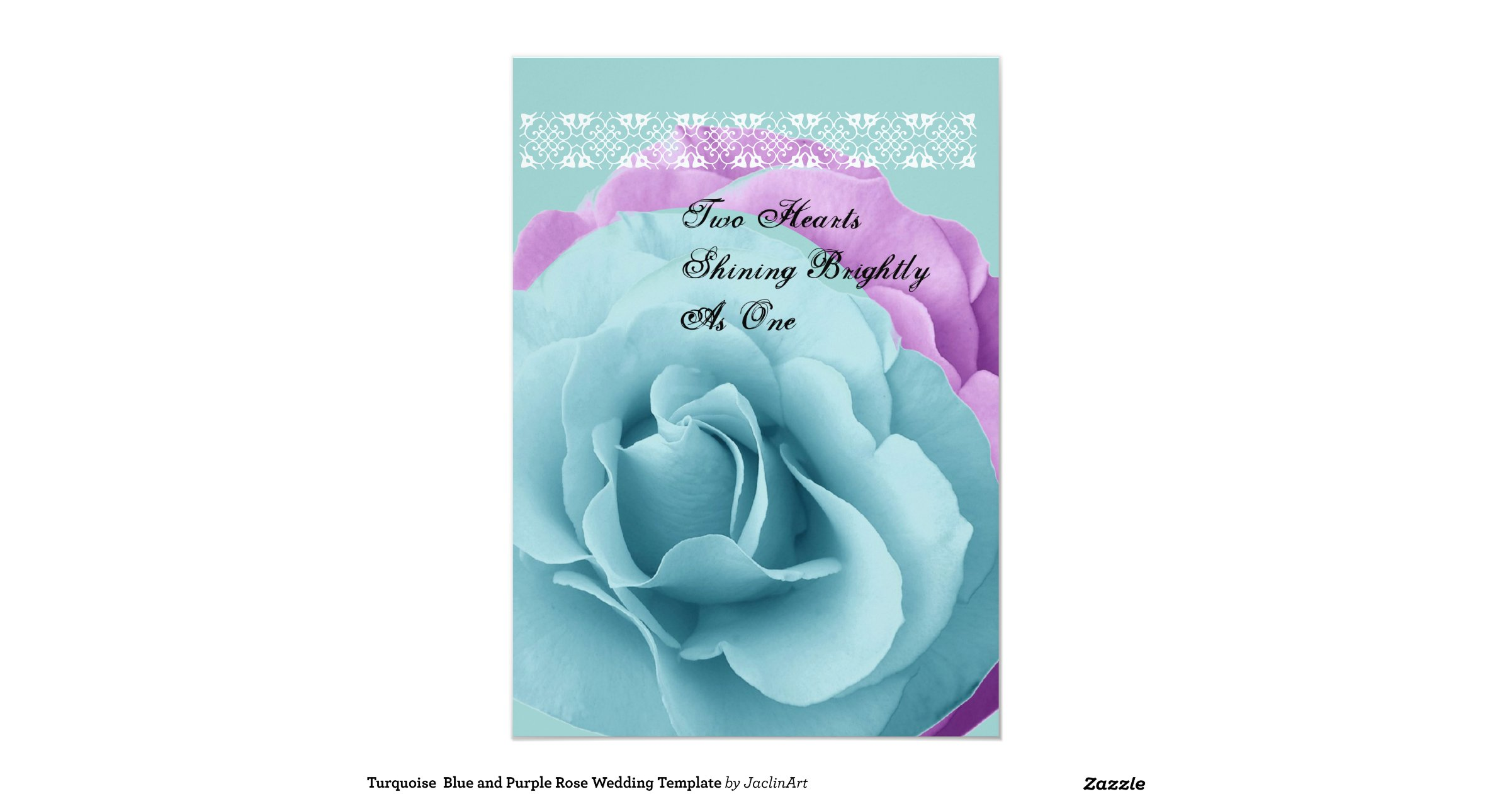 Purple Rose Wedding Invitations: Turquoise Blue And Purple Rose Wedding Template 5x7 Paper