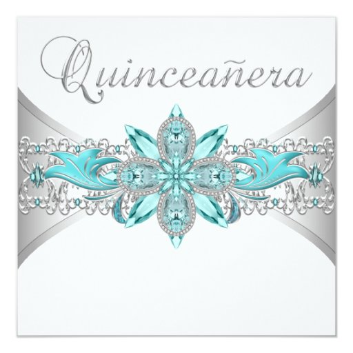 Turquoise Blue Silver Quinceanera Invitations