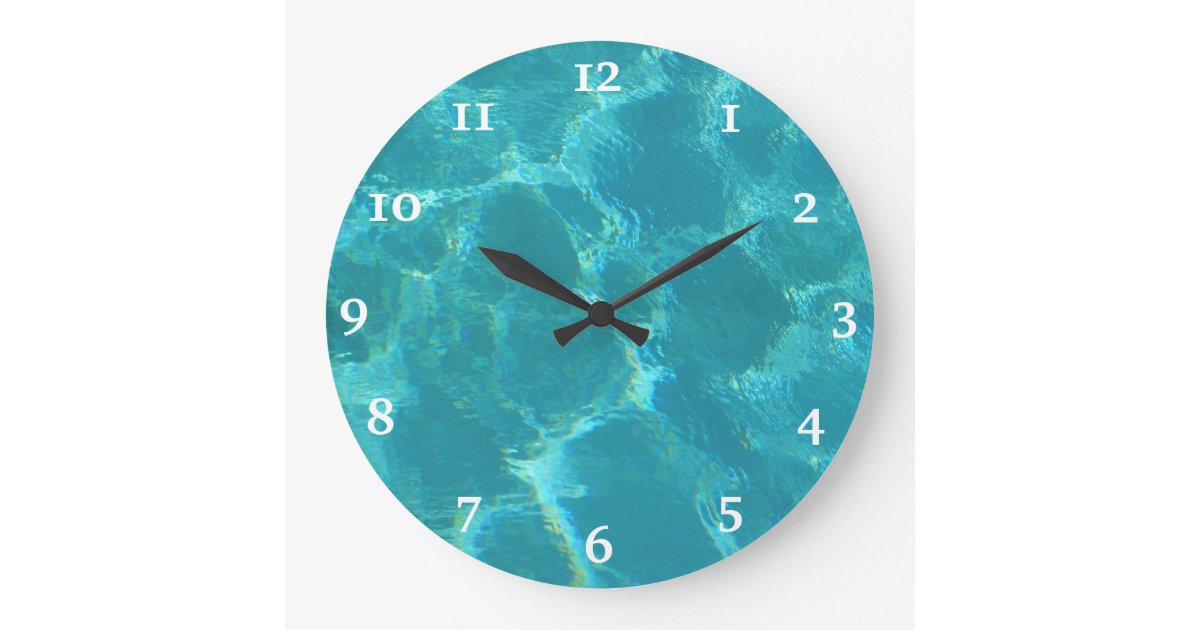 Turquoise Blue Water Wall Clock Zazzle