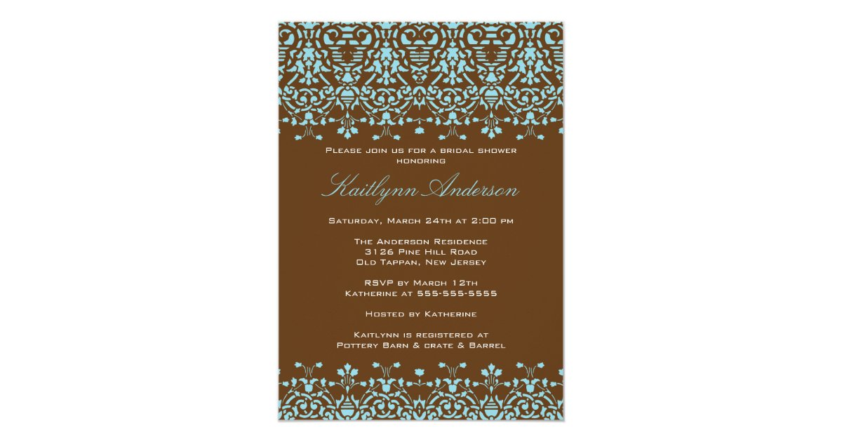 Turquoise And Brown Wedding Invitations: Turquoise & Brown Damask Bridal Shower Invitation