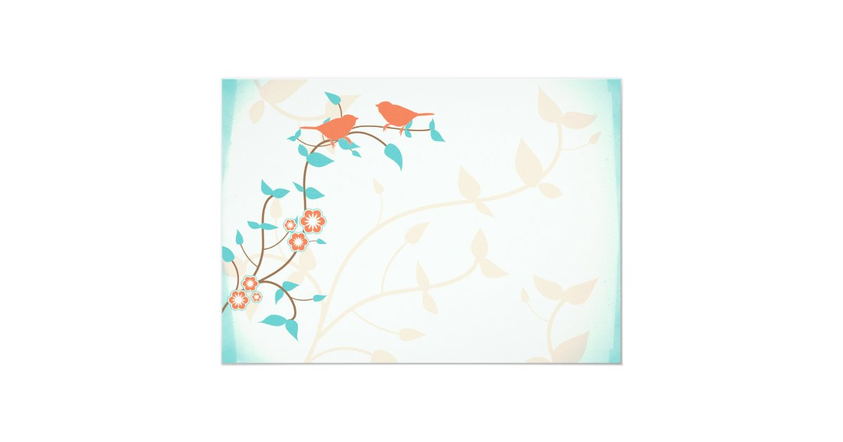 Turquoise And Coral Wedding Invitations: Turquoise Coral Birds Leaves Wedding Invitation